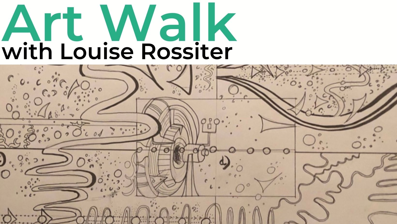 This is an image of a visual score created by Louise Rossiter. It looks hand drawn with pencil and features lots of shapes and drawings.